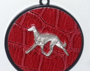 Silvery Trotting Greyhound Dog on Red Medallion, Black Mini Ball Chain Necklace