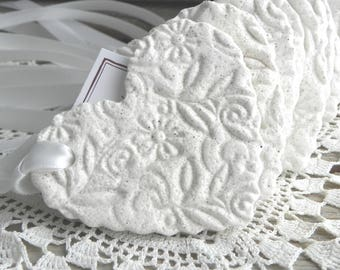 Gorgeous Imprinted Ruffled Heart Salt Dough Set of 10 Ornaments Wedding / Baptism  or Shower Favors