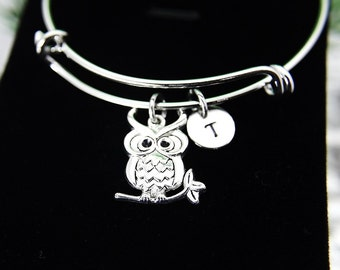 Owl Bracelet, Owl Bangle, Silver Owl Charm, Bird Charm, Animal Charm, Garden Gifts, Mother's Day Gift, Graduation Gift, Personalized, B43