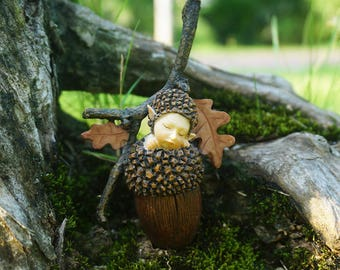 SOLDOUT/Fairy Miniature Cut Tiny Fairy Baby Sleep in Nut  , Fairy Figurines Fairy Garden Supplies Terrarium Accessories DIY Miniature Garden