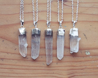 Silver Dipped Raw Quartz Crystal Point Necklace - Rough Clear Spike with Sterling Silver Plated Chain, Natural Layering