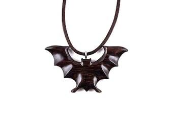 Bat Necklace, Bat Pendant, Bat Jewelry, Hand Carved Wooden Bat Necklace, Bat Totem Jewelry, Spirit Animal, Haloween Necklace, Animal Pendant