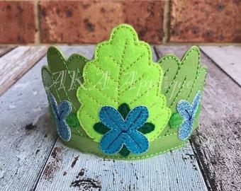 ITH Happy Queen Flower Headband Tiara SLIDER™ Embroidery Design