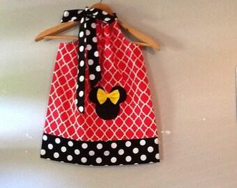 Disney Dress Minnie Mouse dress Red white yEllow BLACK  pillowcase dress Disney 3,6,9.12,18 months 2t,3t,4t,,5t,6,7,8,10,12