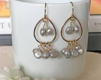Grey Pearl Chandelier Earrings   Dangle Earrings   Grey cultured Pearls   Gold Earrings   Chandelier   Gift   for her