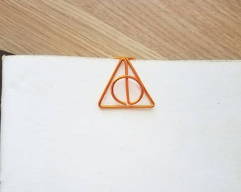 Wire Deathly Hallows Planner Clip - Harry Potter - Planner Marker - Page Marker - Paper Clip - Bookmark - Binder Clip - Journal Clip