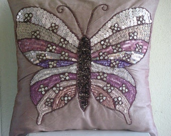 Handmade Decorative Pillow Covers 18 x 18 Pink, Sequins & Beaded Butterfly Pillows Cover, Square Silk Pillows Cover For Couch-Butterfly Love