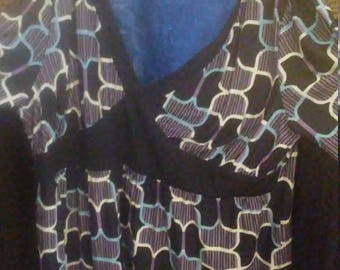 Plus Size (XLG) V- Neck Honeycomb Print Blouse by AGB