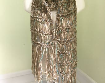 Evening  wrap, ribbon shawl, loose knit wrap, FREE SHIPPING within the US