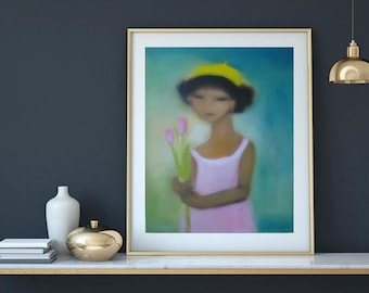 "Teal pink turquoise art, Abstract oil  Portrait oil on canvas teal blue pink yellow 24""x30"" girl in pink dress with tulips and yellow hat"