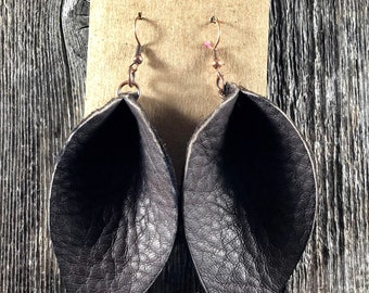 Large Brown Pinched Leaf Leather Earrings