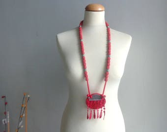 Red lace necklace, disk necklace, longer style, colorful necklace, red leather necklace