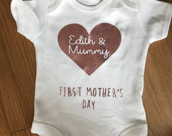 Mother's Day babygrow rose gold