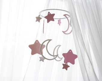Wooden baby mobile - Woodland mobile - Moon mobile - Baby mobile moon - Crib mobile moon - Stars baby mobile - Baby mobile stars
