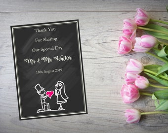 Personalised Wedding Thank You Cards with Matching Envelopes Pack Of 10 TY105