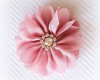 "Rose Pink Chiffon Flowers. 3"" Chiffon Flowers with Glass Rhinestone Center. QTY: 1 Flower  ~Brea Collection"