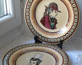 RARE stunning vintage Keraluc Pres Quimper round shaped plates signed