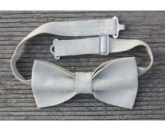 Beige linen bow tie