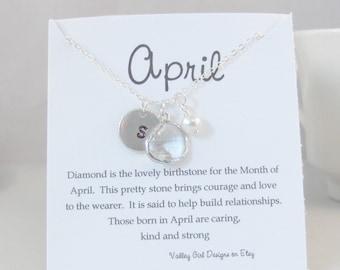 April Necklace,April Jewelry,Diamond Necklace,Diamond,Diamond Jewelry,Initial Necklace,Pearl Necklace,Personalized,Monogram Necklace,Pearl