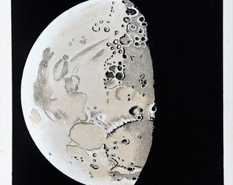 Antique Moon Print, Astronomy Print -  The Moons Surface, Craters, 9th Day  Moon, Astronomical Print c. 1900