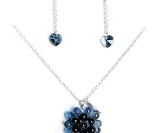 Ensemble Collier Baie Bleu de Minuit et boucles d'oreilles en cristal Swarovski, Ensemble cadeau elle, Collier pendentif en verre bleu marin