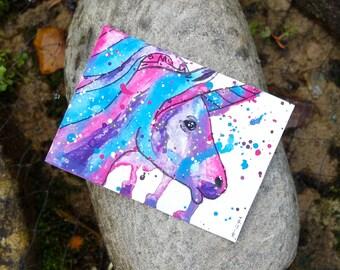 Unicorn Art, Purple Unicorn Painting, Blue Unicorn Wall Art, Pink Unicorn ACEO Original, Unicorn Gift, Unicorn Picture, Unicorn Art Card