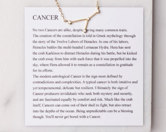 Cancer Constellation Necklace - 14k gold filled constellation necklace with mythology card included - dainty birthday pendant for her