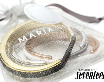 SEVENTEEN MAGAZINE FEATURED Bittersweet Teens Hair Tie Bracelet, Plastic Hair Tie Bracelet Holder with Metallic Finish