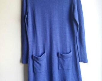 Blue 1980's 40 jersey dress
