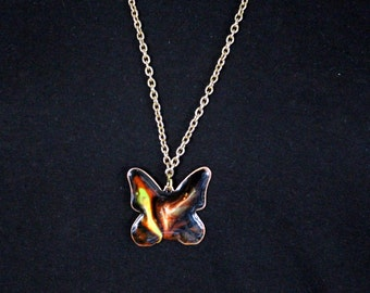 On and Top Vintage necklace of red copper, glazed, butterfly * Free Shipping *