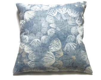 Decorative Pillow Cover Shades of Denim Blue White Floral Toss Throw Accent 18x18 inch  x