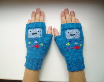 Adventure Time.BMO. Knitted mittens .Fingerless gloves.Hand knit gloves.Hand Warmers.Wool knit mittens.