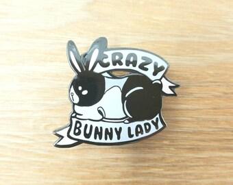Crazy Bunny Lady Lapel Pin