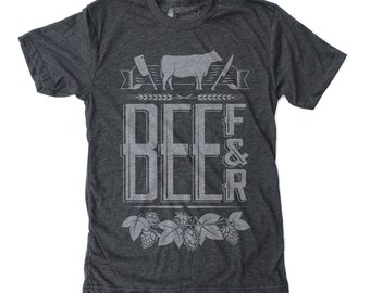 Foodie Gift, Graphic Tee, Gift for him - Beef & Beer t shirt