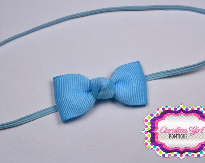 Blue Newborn Headband - Small Headband withTiny Bow on Skinny Elastic - Girls Hair Bows