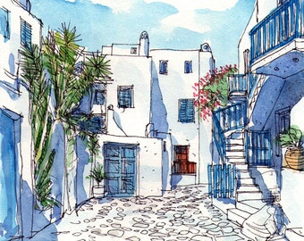 Mykonos Square Greece art print from an original watercolor painting