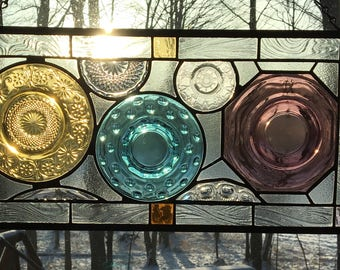 Collage Jewel Tones Vintage plate panel stained glass