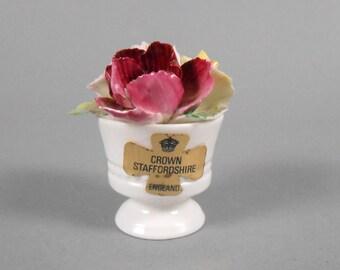 Crown Staffordshire England Fine Bone Chine Trio of Flowers in Urn Figurine with original label