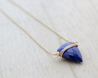 Lapis Lazuli Triangle Necklace, Gold Filled Tooth Geometric Necklace ( As Seen On Bones ) - Finn