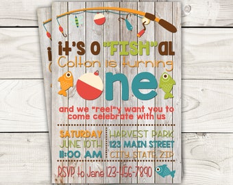 "Fish Themed Invite with Wood Background-Fishing Birthday Invite-o""FISH""ally One Birthday Invite-Digital File"