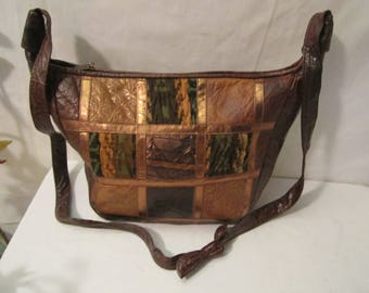 Leather bag, Patchwork Leather Bag, Leather purse, Leather shoulder bag, Crossbody bag, Made in U.S.A. bag