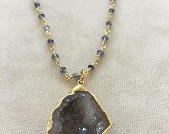Baby Geode on Iolite bead chain