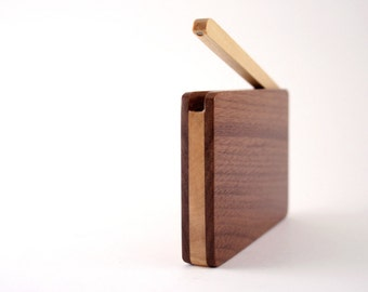 Custom Engraved Wooden Business Card Holder/  Walnut wood Business Card Holder