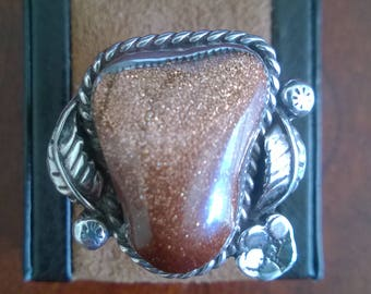 Man's Large Sunstone Ring From The 1990's