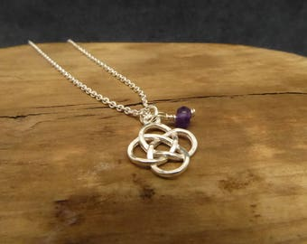 Rose Gold/Silver/Gold Celtic Birthstone Necklace Irish Loveknot With Purple Amethyst February Birthstone Necklace Handmade