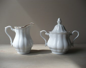 Vintage Walbrzych Creamer and Sugar Bowl with Lid, Vintage White China Serving Made In Poland