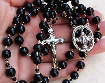Classic black onyx and sterling silver Catholic Rosary by The Peaceful Bead