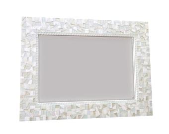 All White Wall Mirror, Large Mosaic Mirror, Neutral White Home Decor