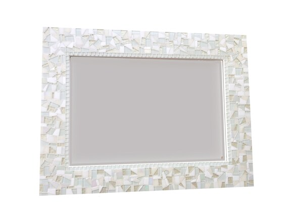 all white wall mirror large mosaic mirror neutral white home. Black Bedroom Furniture Sets. Home Design Ideas