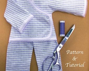 Jersey Doll Pajamas PDF, Sewing Pattern & Tutorial
